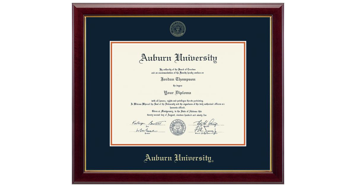 Campus Images Auburn University 17w x 13h Blue and Orange Diploma Frame