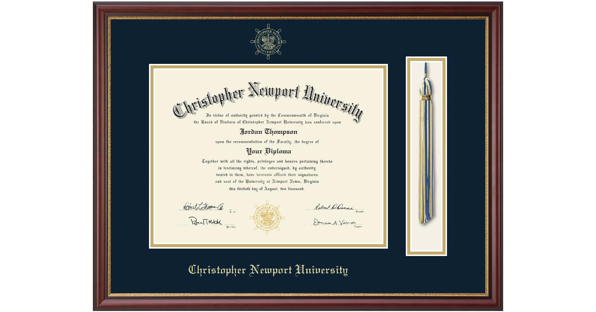 Christopher Newport University Tassel Diploma Frame In Newport Item 111586