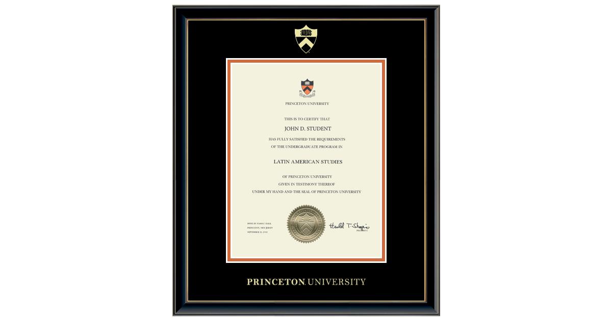 certificate frame princeton university gold frames