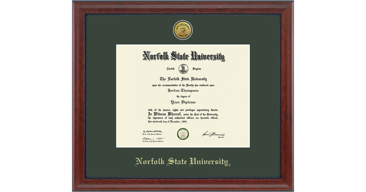 Norfolk State University Gold Engraved Medallion Diploma Frame In Signature Item 131152 From Norfolk State University