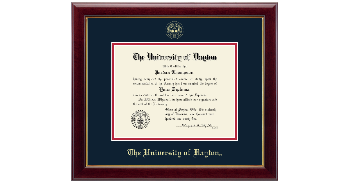 University Of Dayton Gold Embossed Diploma Frame In Gallery Item 133823