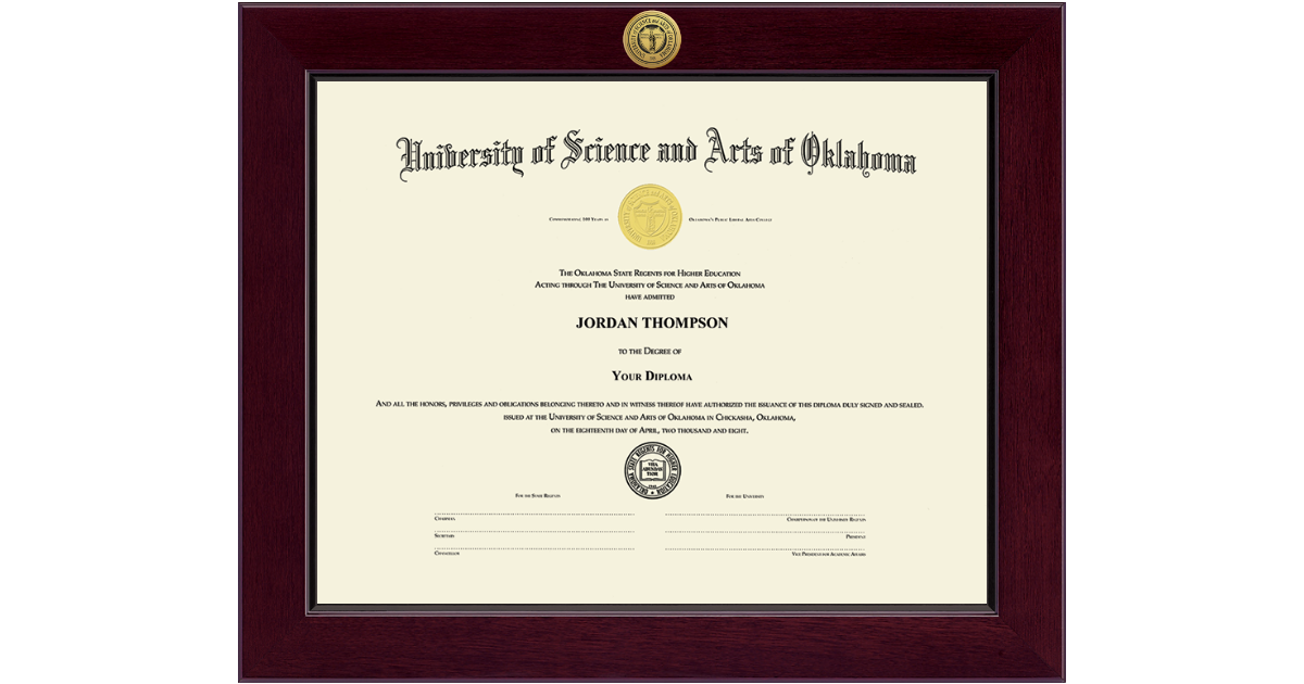 University Of Science And Arts Of Oklahoma Century Gold Engraved Diploma Frame In Cordova Item 137090 From Usao Bookstore