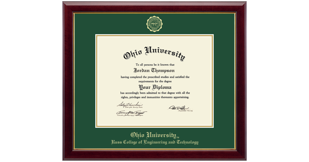 Ohio University Gold Embossed Diploma Frame In Gallery Item 240908 Oet From Bobcat Depot