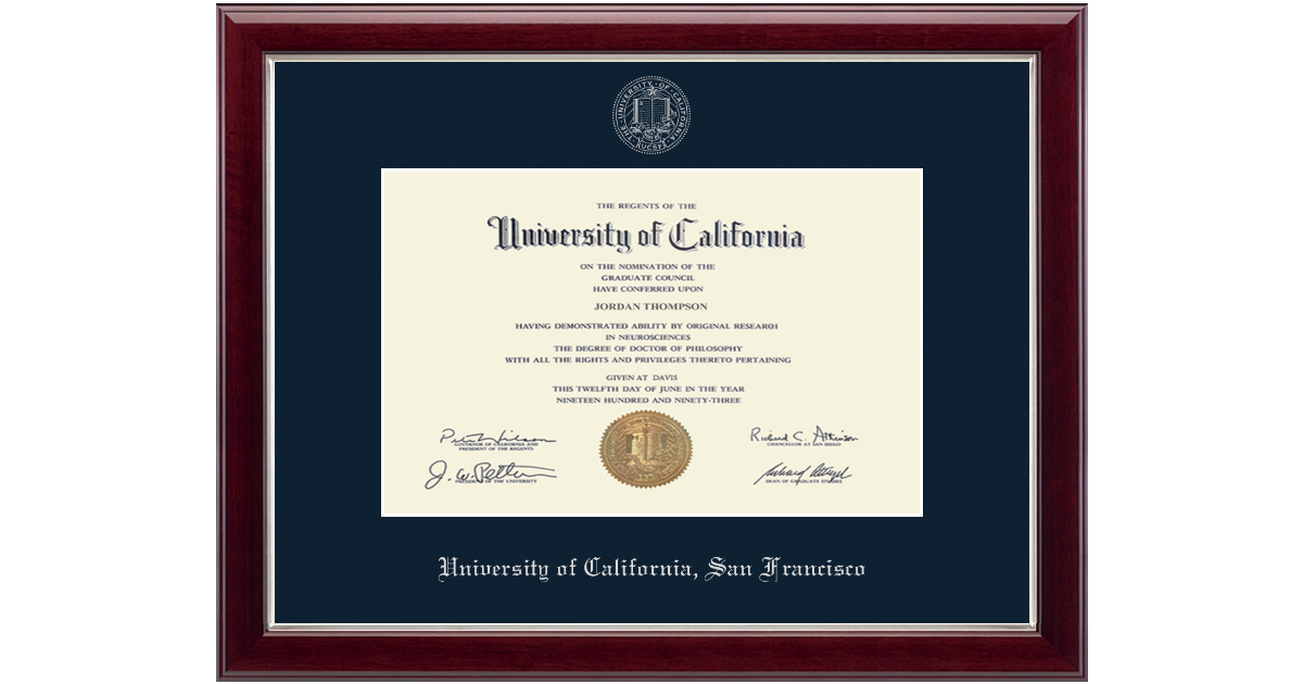 University Of California San Francisco Professional Silver Embossed Diploma Frame In Gallery Silver Item 272067