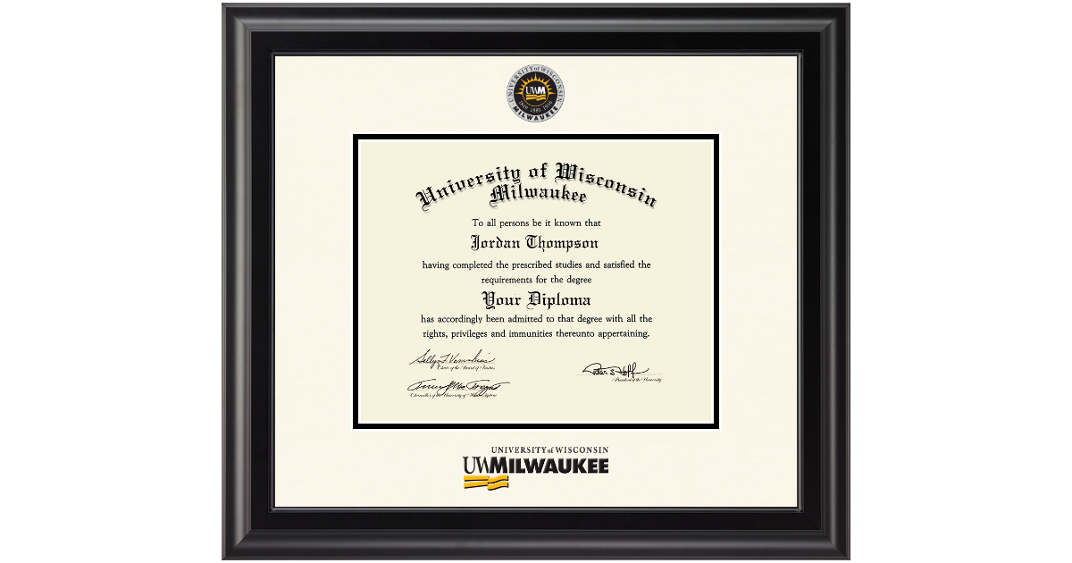 University Of Wisconsin Milwaukee Dimensions Diploma Frame In Midnight Item 290287