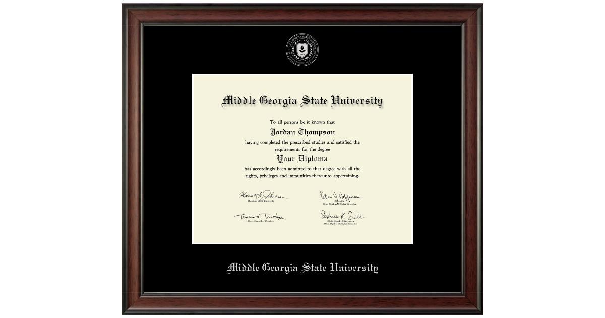 Middle Georgia State University Silver Embossed Diploma Frame In Studio Item 292866