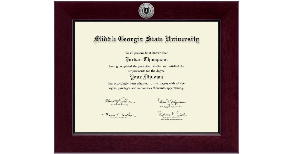 Middle Georgia State University Century Silver Engraved Diploma Frame In Cordova Item 292869