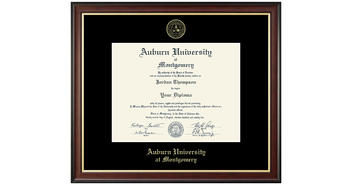 Auburn University Montgomery Gold Embossed Diploma Frame In Studio Gold Item 340853 From Aum Bookstore