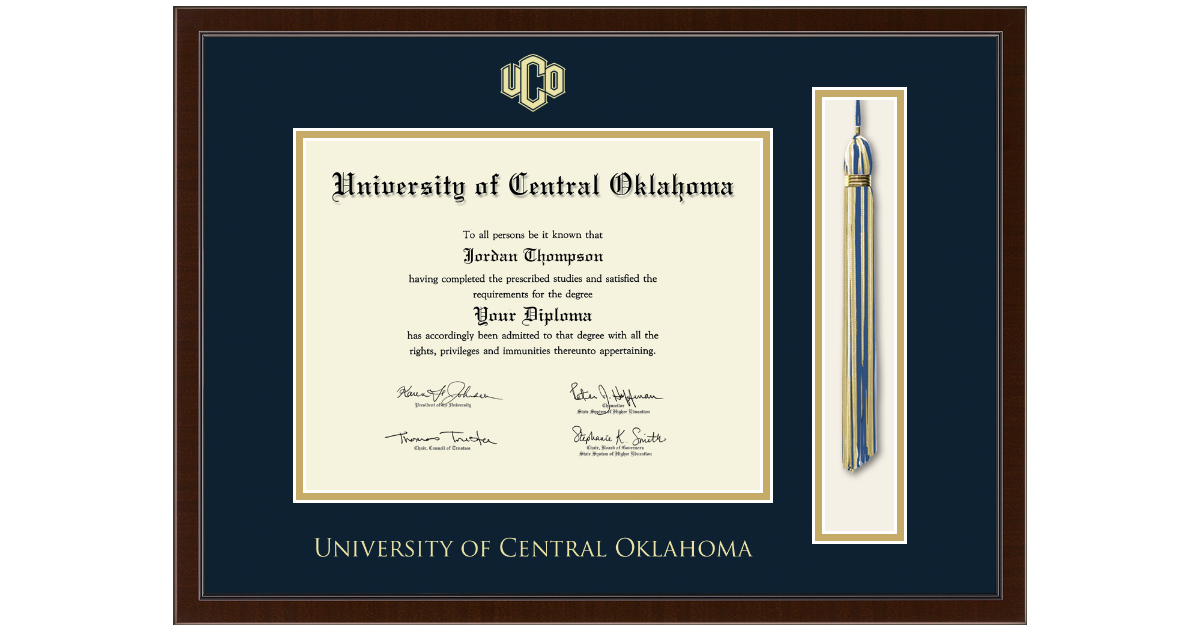 University Of Central Oklahoma Tassel Edition Diploma Frame In Delta Item 346110
